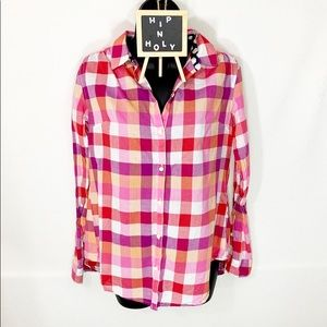 ISABELLA SINCLAIR ANTHROPOLOGIE PLAID TOP XSMALL